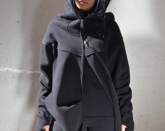 Featured listing image: Zip up hoodie, women's sweatshirt, women zip up hoodie, sweatshirt plus size, long loose tunic, plus size sweatshirt, hooded sweatshirt