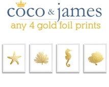 Four Print Set Faux Gold Foil Art Beach Prints Sea Animal Art Seahorse Coral Print Starfish WallArt Gold Prints Sea Life Theme Decor Bedroom