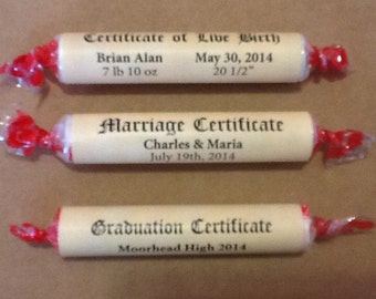 60 Smartie diploma wraps for graduations, weddings, birth of baby, showers, anniversaries.