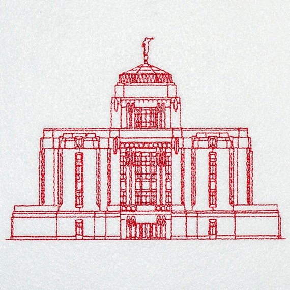 Meridian Idaho Lds Temple Redwork Embroidery Design