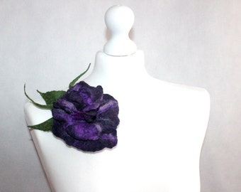 Felted Flower Brooch Purple Violet felt jewelery, floral, felt brooch, art fiber, textil art brooch