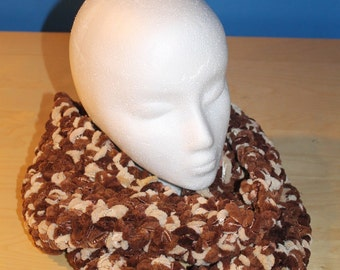 Brown/beige cowl with ribbons