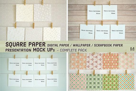 square paper mock ups complete pack for digital scrapbook paper, Presentation templates