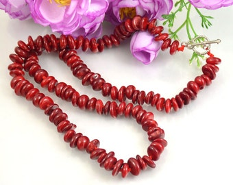 "18"" 22"" 24"" 35"" Heishi Red Coral Necklace Charm 5mmx8mm coral  Larite Necklace Charm Knotted Necklace  Red Coral Jewelry"