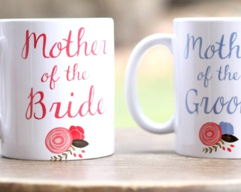 Set of 2 Mother of the Bride and Mother of the Groom Mugs, Wedding party gifts, Wedding day gifts, coffee mug for mom