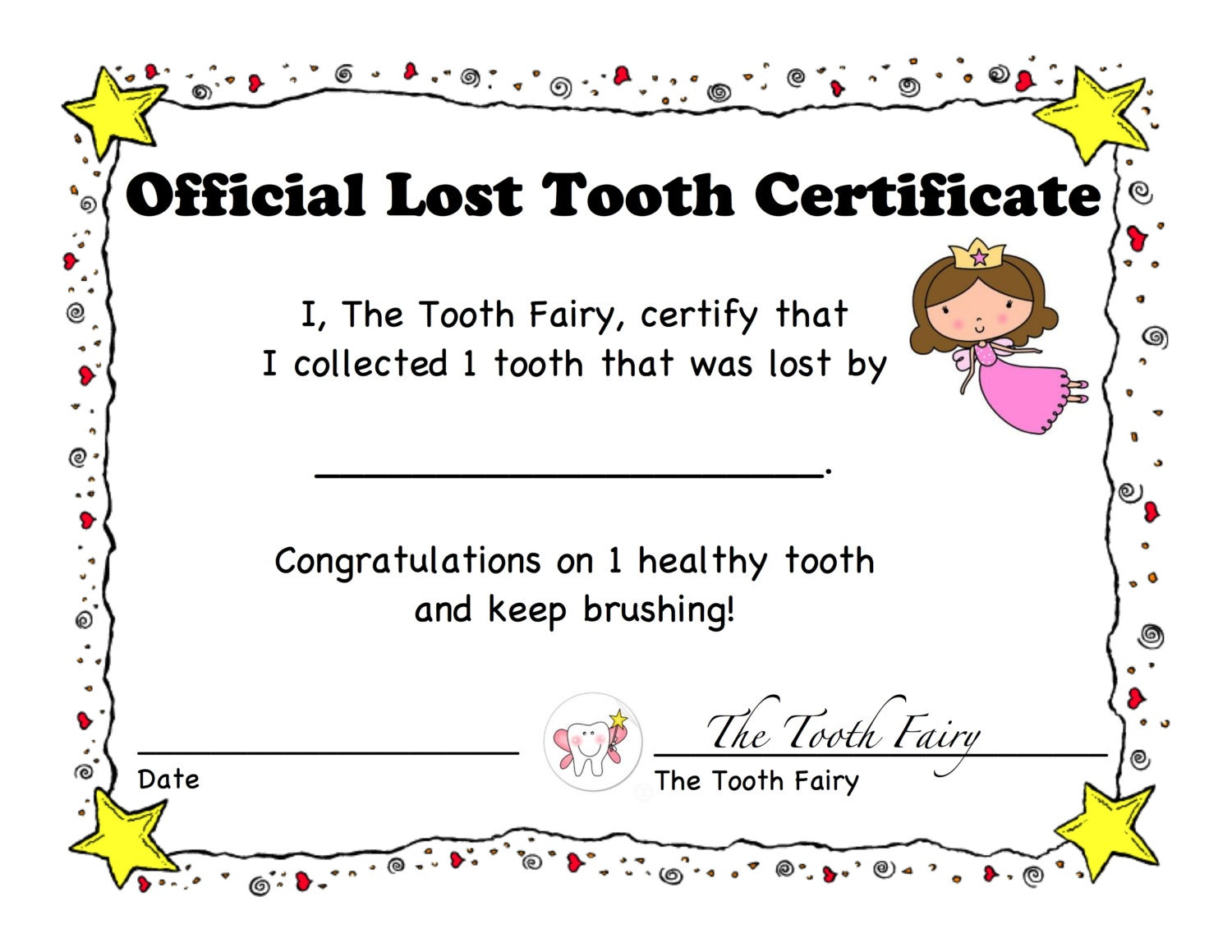 1st lost tooth certificate and letter tooth fairy children for Letter from the tooth fairy template