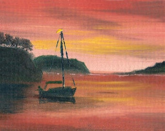 Original ACEO landscape oil painting YACHT at SUNSET 2.5 x 3.5""