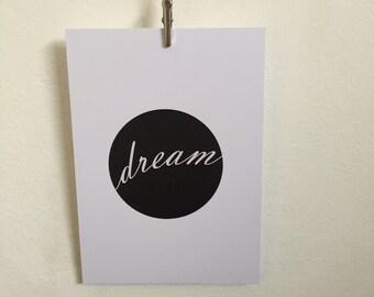 Dream Print Quote Postcard