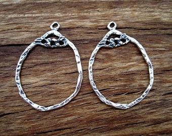 Rustic Artisan Floral Earring Hoops in Sterling Silver (one pair) (N)