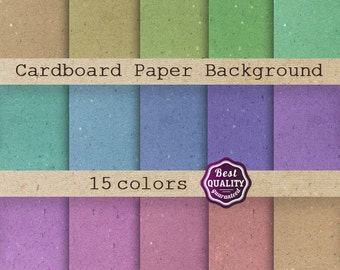 50% OFF Cardboard Paper Backgrounds Digital Paper Set * 15 Backgrounds for Scrapbooking & Crafts * Printable, Instant Download commercial us
