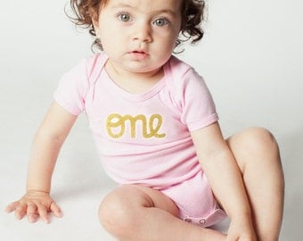 "1st Birthday Outfit Baby Girl, Pink and Gold Glitter, Short Sleeve first birthday ""one Onesie, one birthday shirt, personalized onesie"