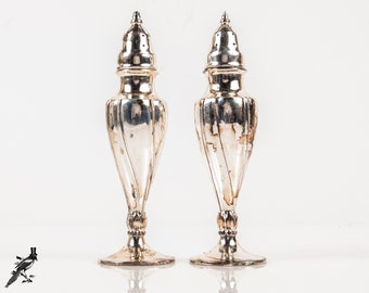 Salt & Pepper Shakers La France Reg - Silver Plated / Silverplate Elegant Lines - Made in USA 616 SP Co Downton Abbey Mid Century Tableware
