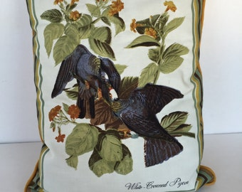 Vintage Decorative Pillow with Quilted Audubon Style Bird Print Front - Yellow - Pigeon
