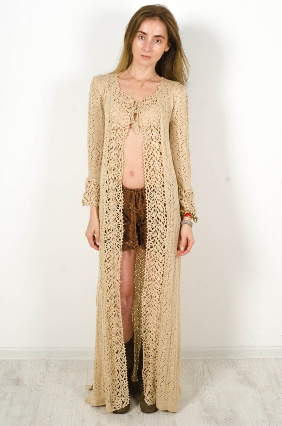 Crochet beige cardigan crochet dress lace nude cardigan Maxi
