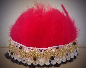 Queen of Hearts feather crown ruby red embellished princess crown dance ballet prop girls princess headpiece
