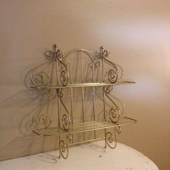 Items Similar To Vintage Metal Shelf Wall Hanging Shelf Metal Bathroom Two Tier Shelf