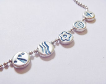 1990's Silver Plated Ball Chain Necklace With Enameled Symbols