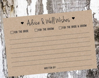 Wedding Advice Cards - Kraft or White