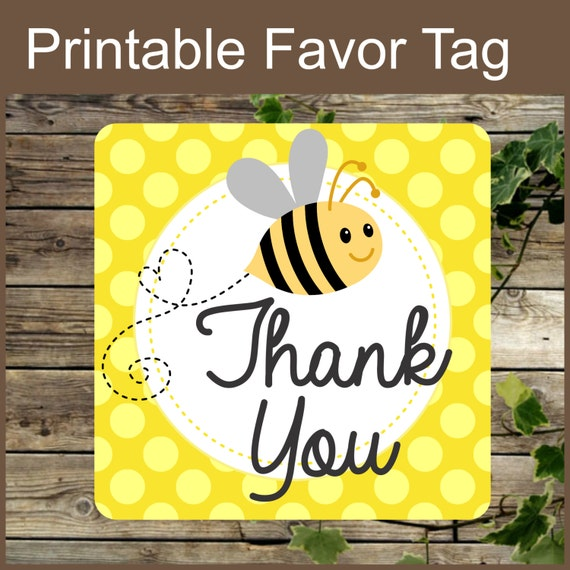 Baby Shower Yellow Bee Favor Label Tag Instant Download Thank