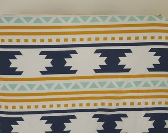 Fitted Crib Sheet for Standard size crib mattress, Modern, Navajo Tribal Aztec, Gold , Navy, Navajo Blanket, Modern Southwestern