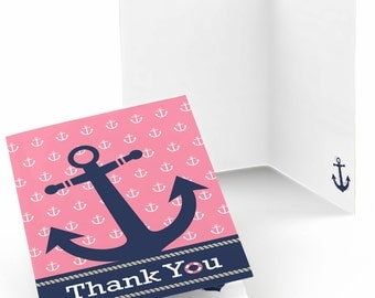 Set of 8 Ahoy - Nautical Girl Thank You Cards - Party Supplies