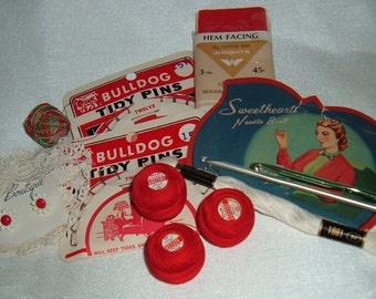 Vintage Sewing Notions, Red Collection Thread, Needle Book, Buttons, Upholstery Pins, Crochet Needles