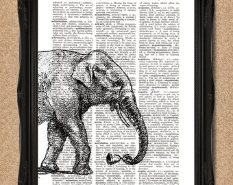 Elephant Print Dictionary Page 8x10 Elephant Wall Art with Bell A184