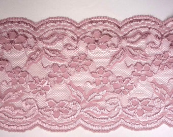3 yd / 2.7 meter Rose Mauve Mesh Stretch Lace Trim Craft for Evening Gown 6 inch /15cm width L523