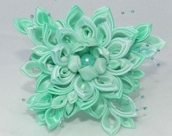 "Tsumami Kanzashi Flower brooch ""Forest Lake"""