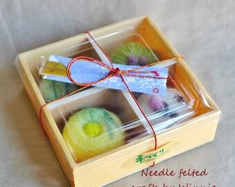 Wagashi 和菓子 handmade Needle felted dessert  box of 4