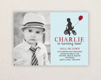 Birthday Party Invitations. Boy on trike. I Customize, You Print.