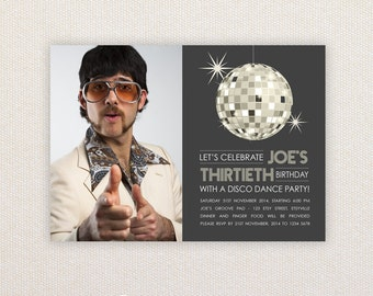 Photo Birthday Party Invitations. 70s Disco Party. I Customize, You Print.
