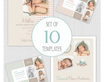 INSTANT DOWNLOAD: 10 PSD Birth Announcement Templates. Hello Birdie. Mini Pack 9.