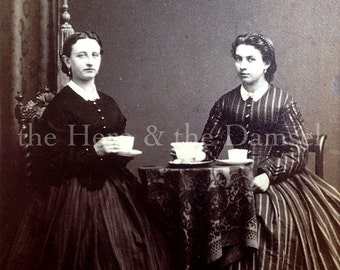Ladies at Tea // CDV fashionable women having tea party, Civil War times // Antique photo by H. Martens, Germany, table, tea cups, stripes