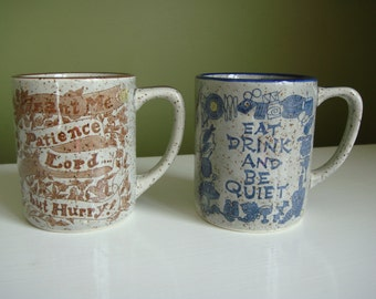 Vintage Stoneware Mugs 2pc. - Made in Japan - Epsteam
