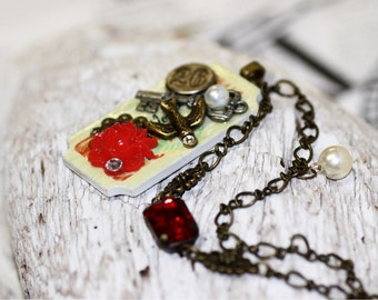 Sparrow Mixed media necklace ,vintage charm jewelry necklace.