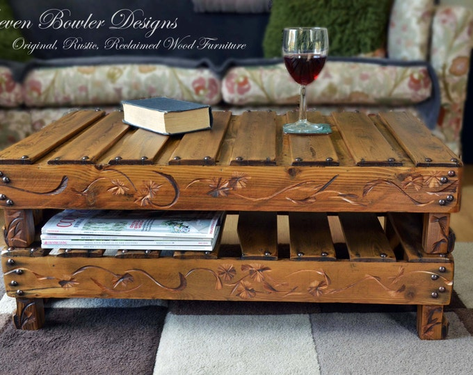 Country Cottage Rustic Reclaimed Wood Coffee Table with Decorative Carving, Bronze Tacks and Handy Under Shelf Storage Handmade to Order