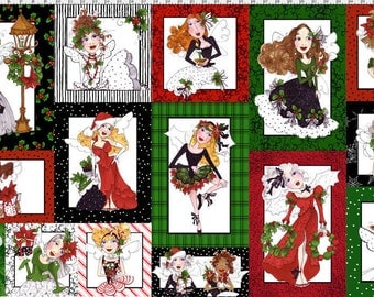 Loralie Designs Fairy Merry Christmas Quilt Fabric Panel Out Of Print High Quality Cotton Quilt Fabric