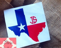 TEXAS STATE FLAG State decal State Sticker Car Decal Monogram Decal Monogram Vinyl Decal Monogram Gift Monogram sticker Car sticker  Vinyl