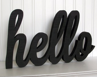 hello Wood Word Sign - Handmade Wood Sign, Painted hello Sign