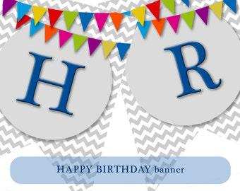 HAPPY BIRTHDAY party decor garland. Banner decor. Baby boy party decor. Instant Download PRINTABLE