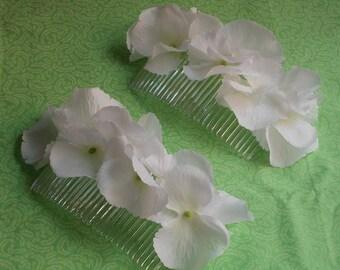 White Hydrangea Hair Comb