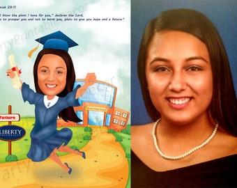 Graduation Caricature- Personalized Caricature - Custom Caricature Digital Art - Custom Digitally Illustrated Caricature