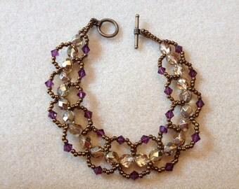 Hand Beaded Loop Bracelet-Gold/Bronze-7.5 in.
