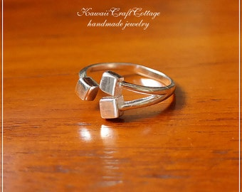 925 Sterling Silver Jewelry Ring, Geometry, Square, Cube Ring, Cute, Kawaii, Modern, Unique, Math, Teacher, Women, Gift, Free Size Open Ring