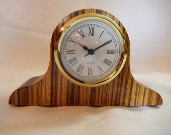 Hand Made Zebra wood Clock with Quartz Movement