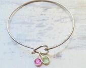 Stainless steel heart bangle bracelet - Crystal birthstone jewelry - Mothers jewelry - Love bracelet - Family jewelry - Couples bracelet