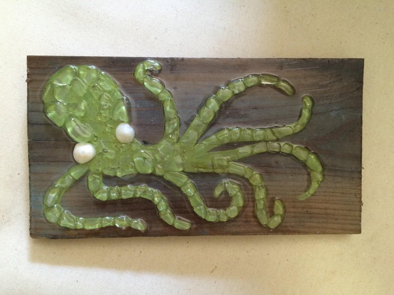 Sea Glass Art Octopus Wall Decor Sea Glass Mosaic Octopus On