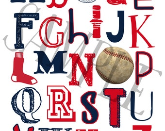 Boston Red Sox Baseball ABC Nursery Art