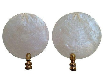 Capiz Shell Lamp Finials, Pair
